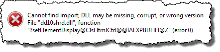 Error message from heck.