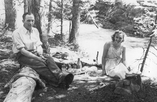A picnic on the way to Banff, from Calgary, I believe.