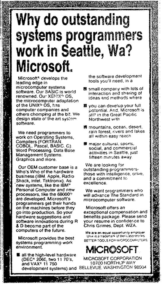 1983 Microsoft Recruiting Ad