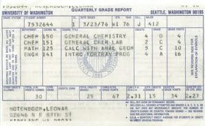 University of Washington Quarterly Grades